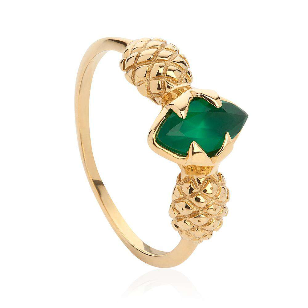 Pineapple Ring - Gold & Green Agate