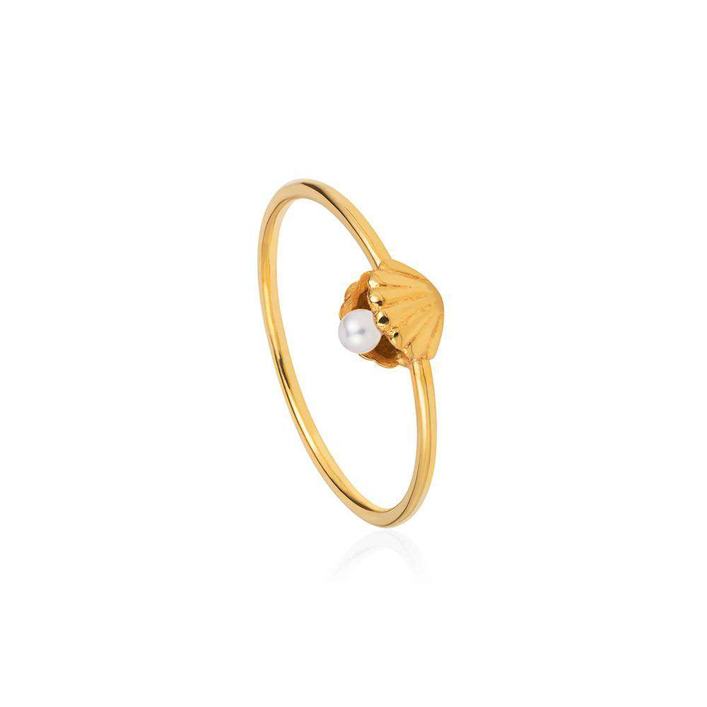 Shell & Pearl Ring - Gold - Lee Renee - THE POMMIER - 1