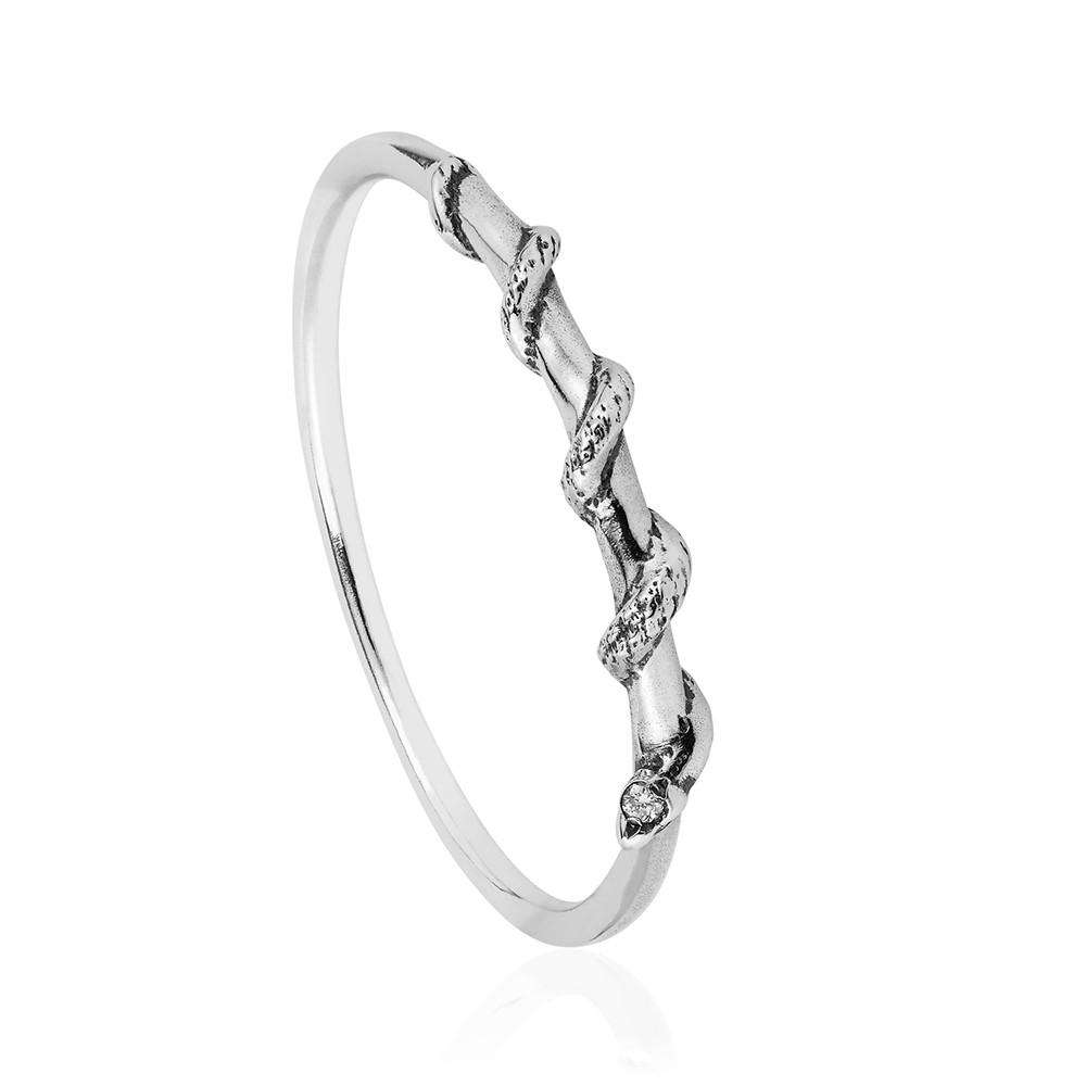 Tiny Snake Ring - Diamonds & Silver - Lee Renee - THE POMMIER - 1