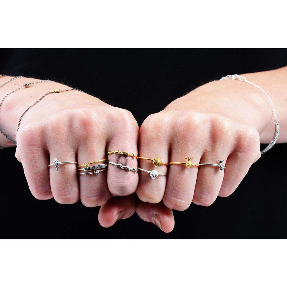 Tiny Snake Ring - Diamonds & Silver - Lee Renee - THE POMMIER - 2