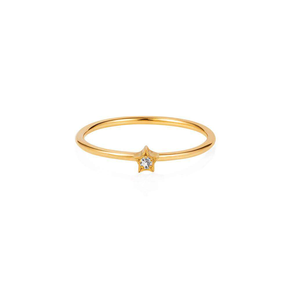 Tiny Star Ring - White Sapphire & Gold Vermeil - Lee Renee - THE POMMIER - 1