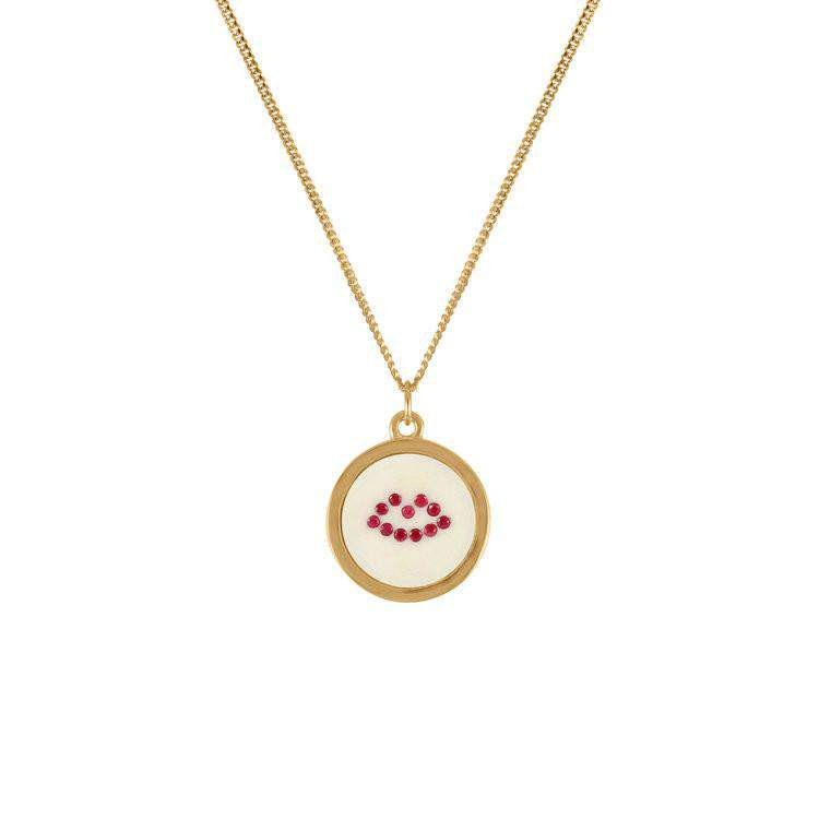 Ruby Lip Pendant Necklace - Lee Renee - THE POMMIER - 1