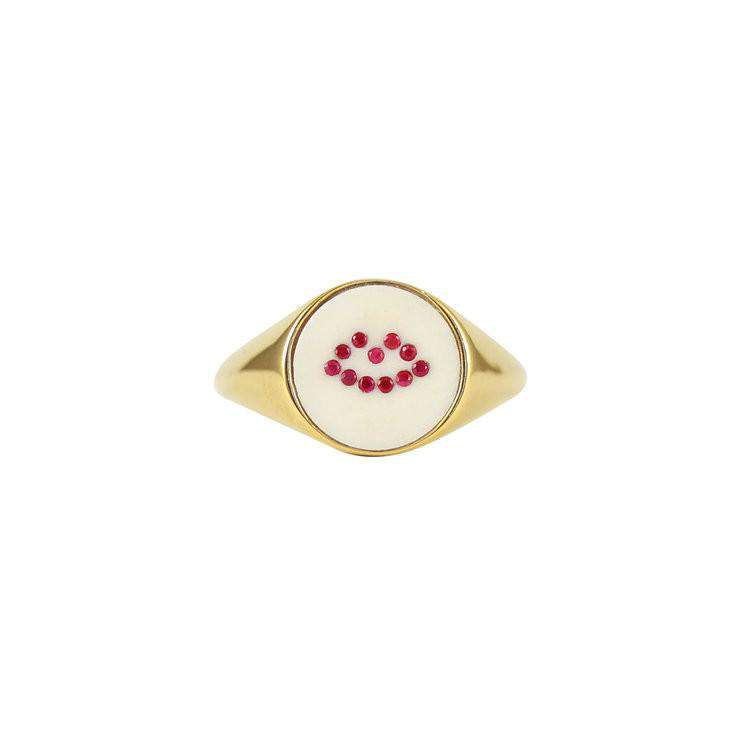 Ruby Lip Signet Ring - Lee Renee - THE POMMIER - 1