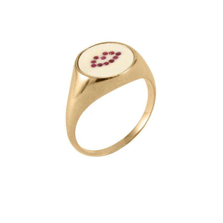 Ruby Lip Signet Ring - Lee Renee - THE POMMIER - 2