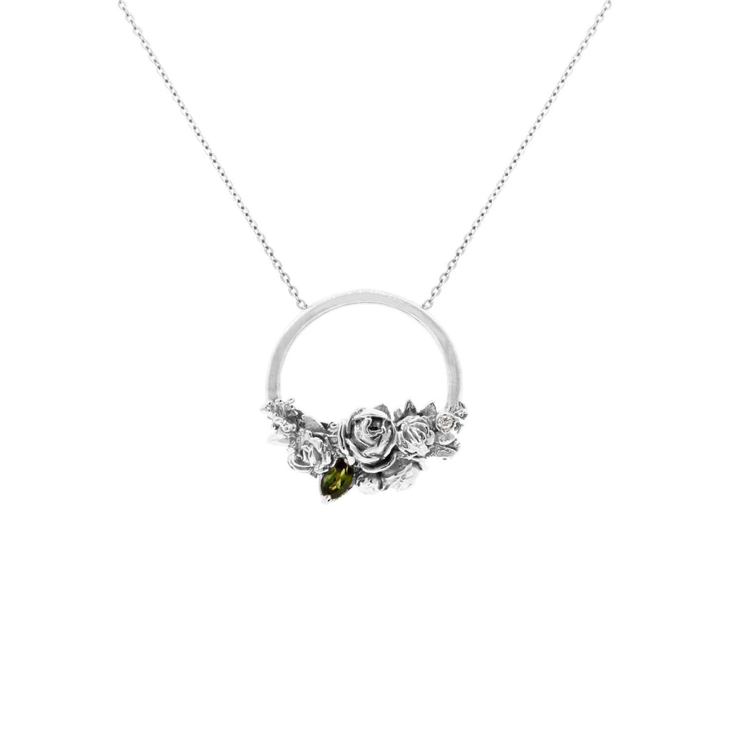 Rose Halo Diamond & Tourmaline Necklace – Gold/Rose Gold/Silver