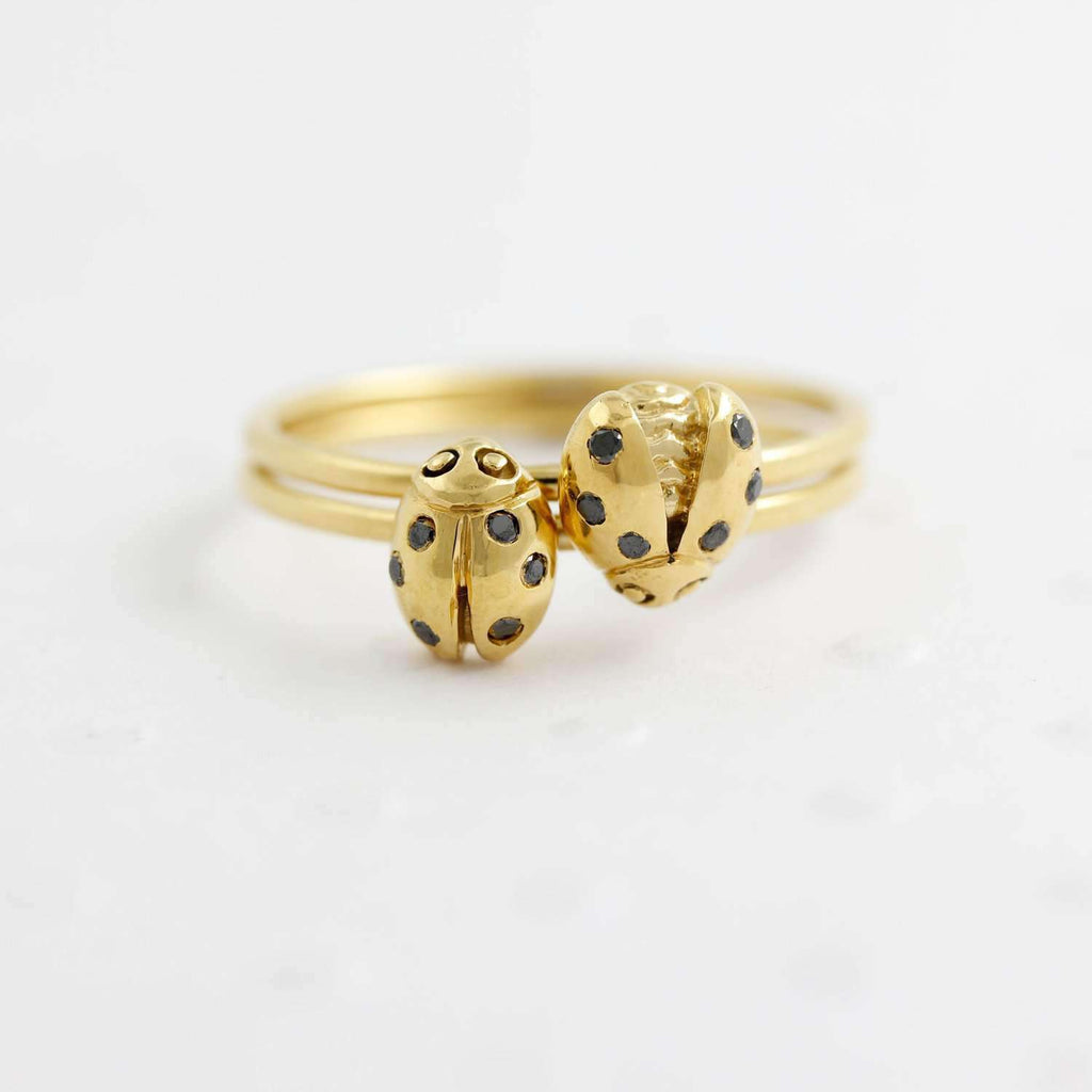 Ladybird Black Diamond Ring/wings open - Silver/Gold/Rose Gold