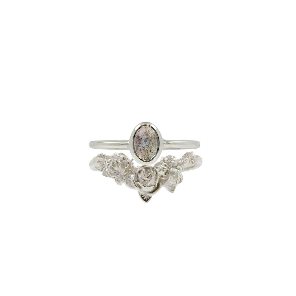 Labradorite Rose Cut Ring - Gold/Silver