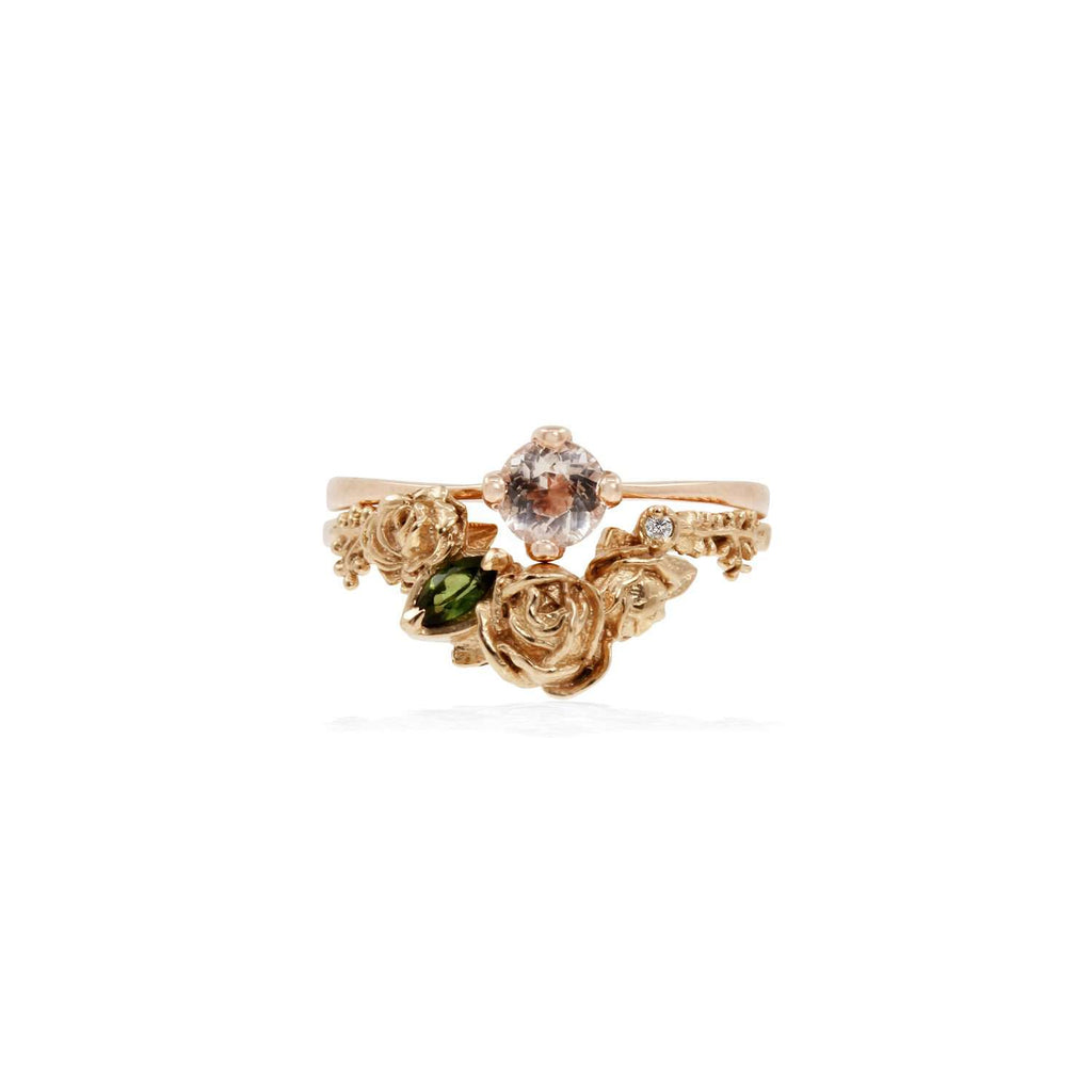 Rose Smaller Chevron Ring Diamond & Tourmaline – Gold/Silver/Rose Gold