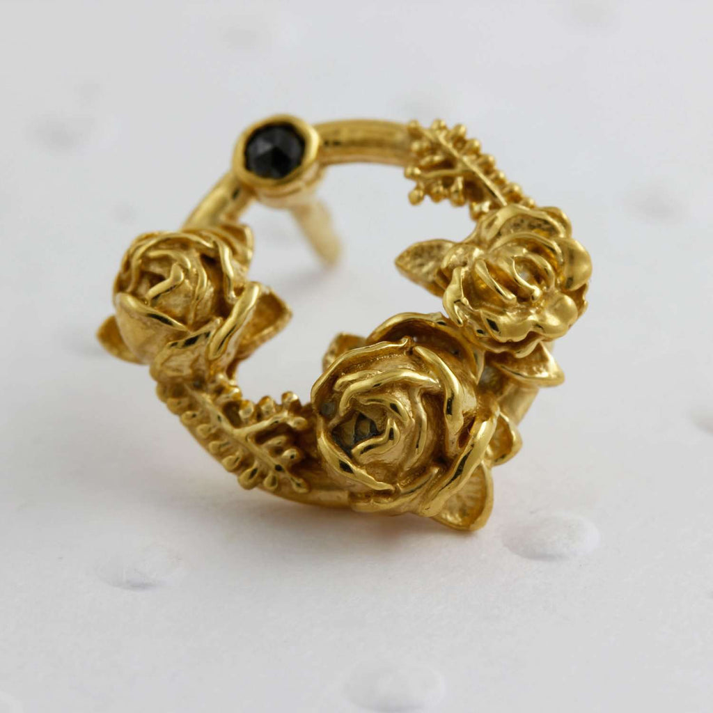 Black Diamond Rose Halo Lapel Pin – Gold/Rose Gold/Silver