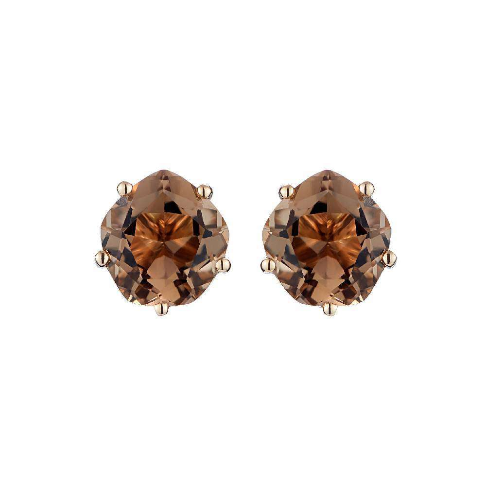 Yellow Gold and Smoky quartz Ear Studs