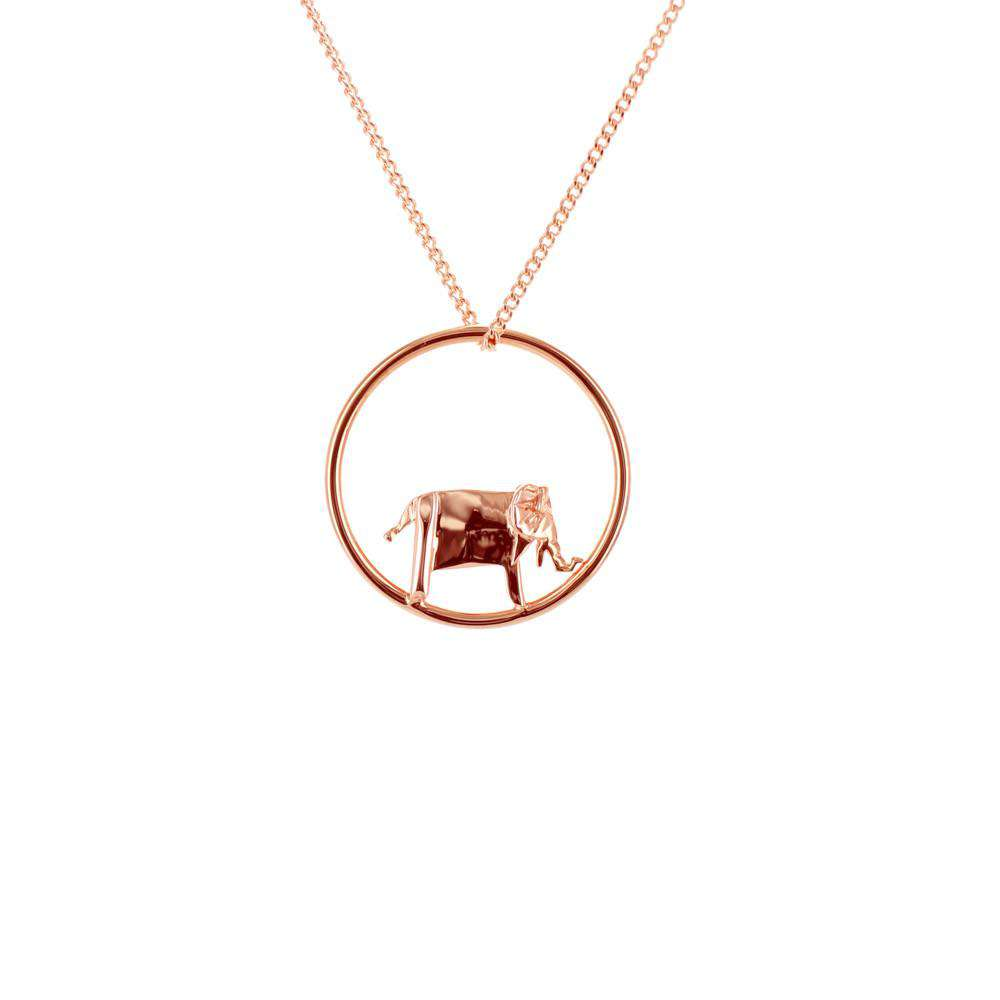 Circle Elephant Rose Gold Necklace
