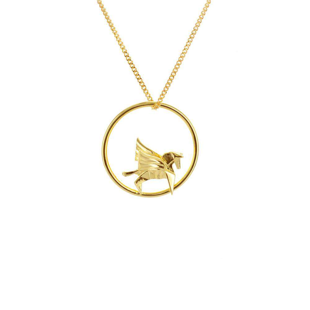 Circle Pegasus Gold Necklace