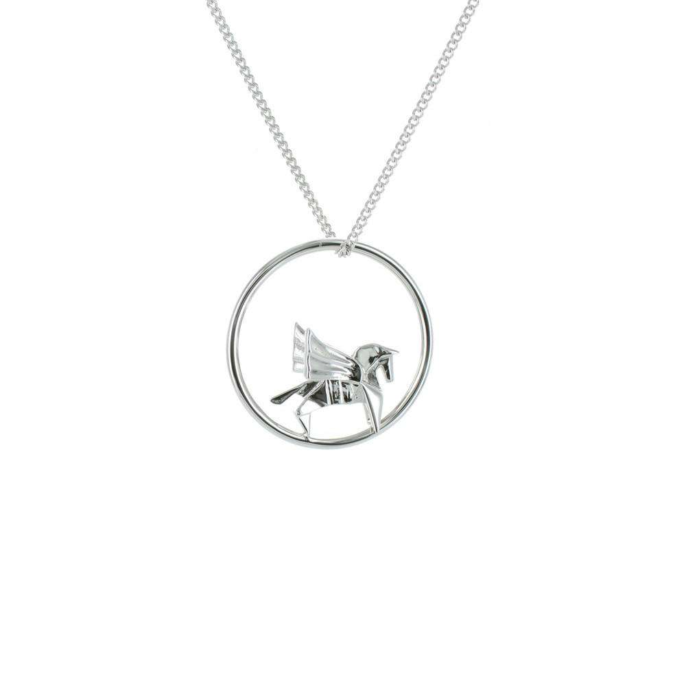 Circle Pegasus Silver Necklace