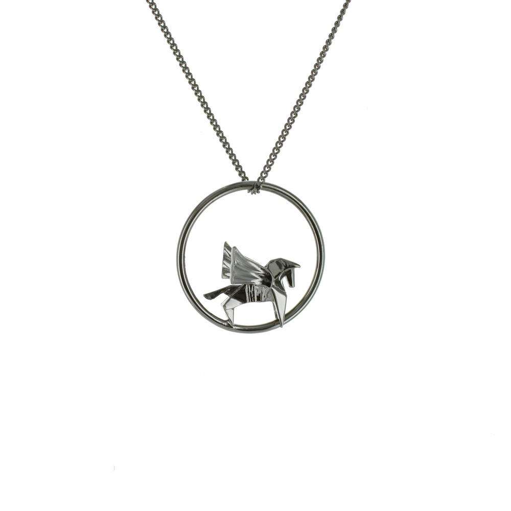 Circle Pegasus Gunmetal Black Necklace