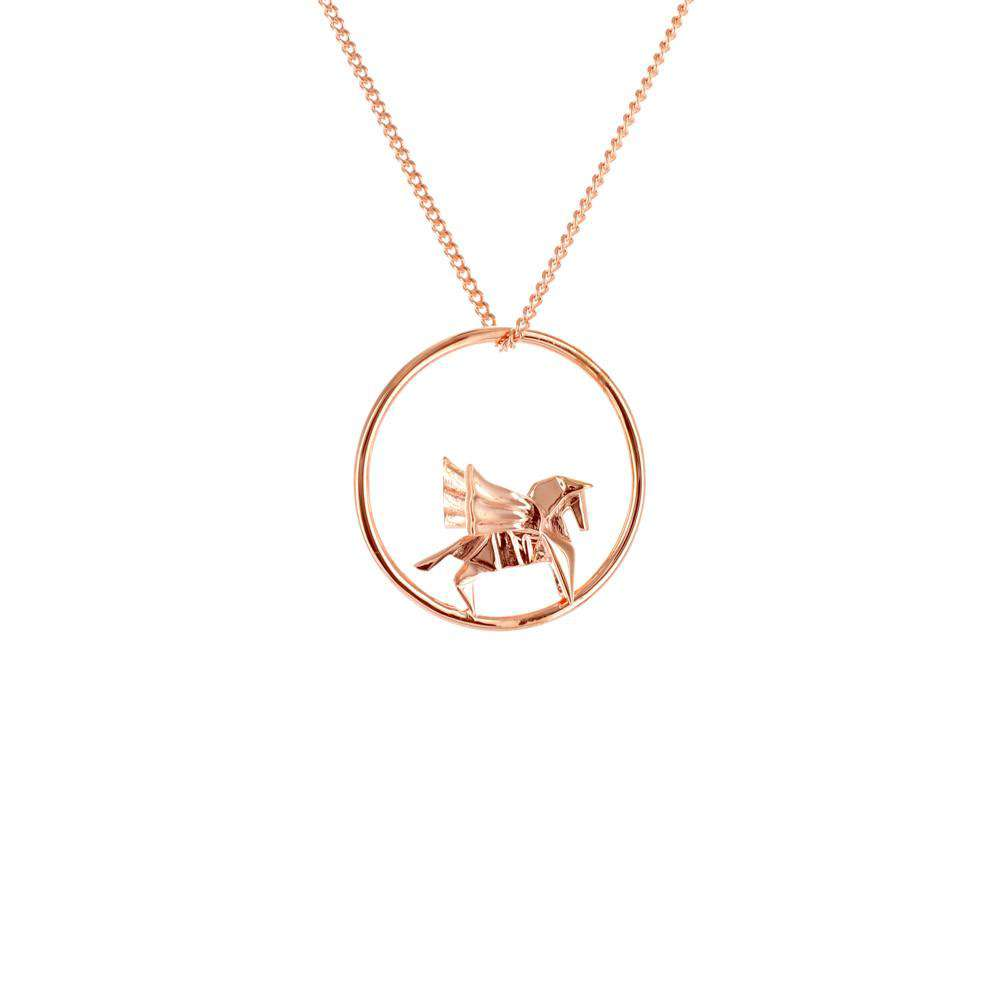 Circle Pegasus Rose Gold Necklace