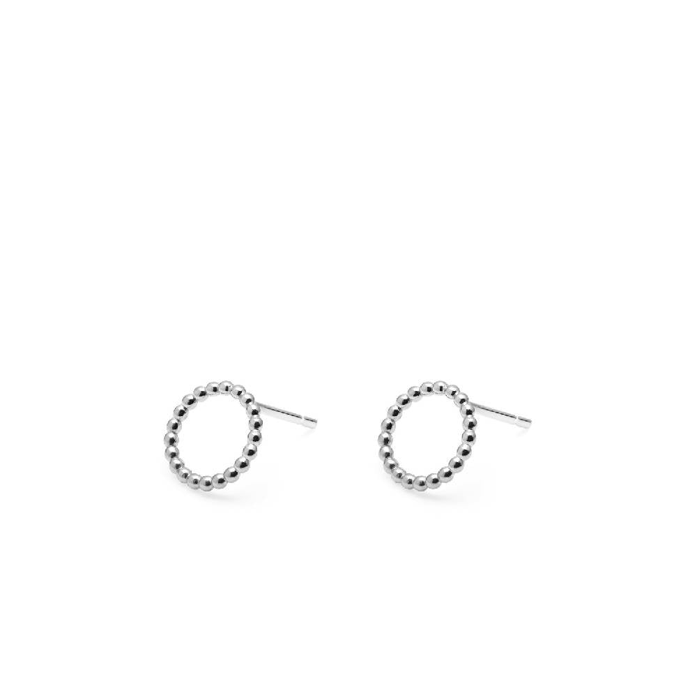 Circle Sphere Stud Earrings - Sterling Silver