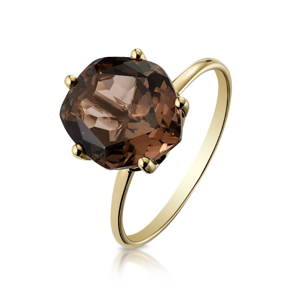Yellow Gold and Smoky Quartz (9mm) Ring