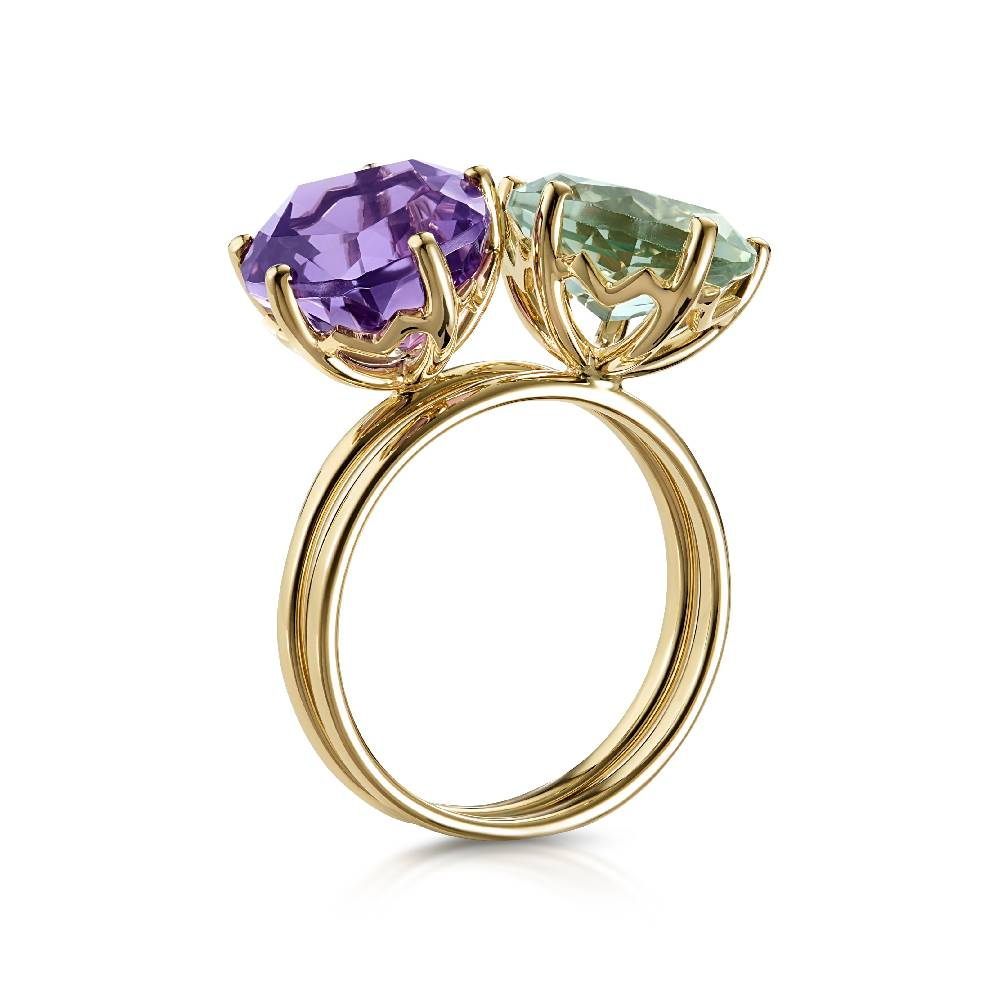 Yellow Gold and Green Amethyst (9mm) Ring