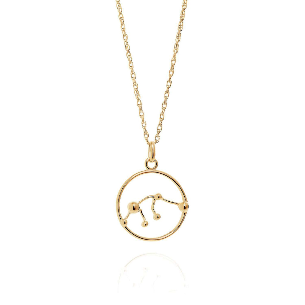 Gold Aquarius Astrology Necklace