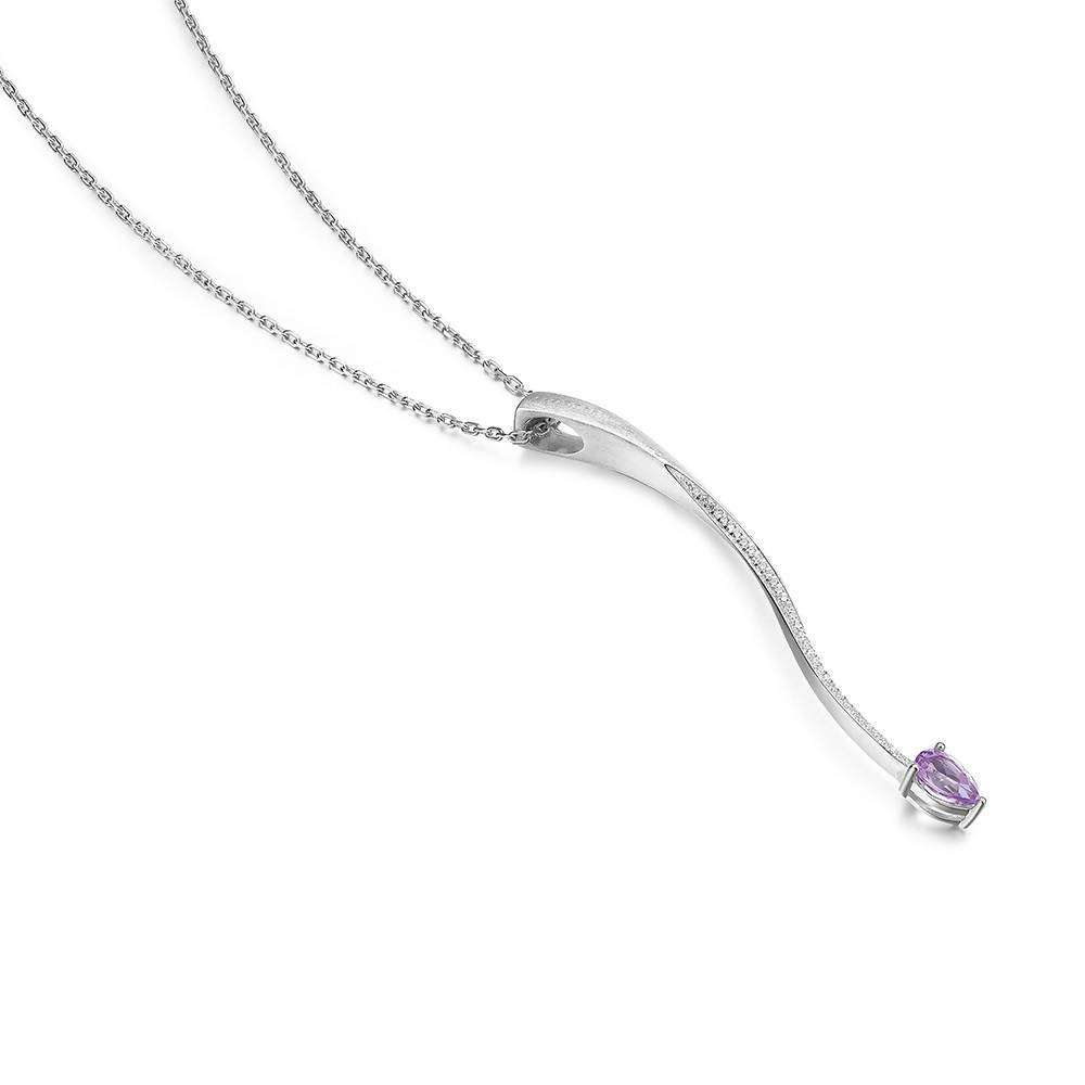 Shooting Star Purple Amethyst Long Pendant in 925 Sterling White Rhodium Colour