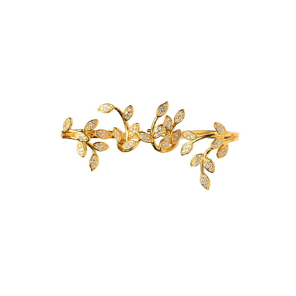 Marquise Vines Gold Plated 925 Sterling Silver Ring Between Fingers Ring