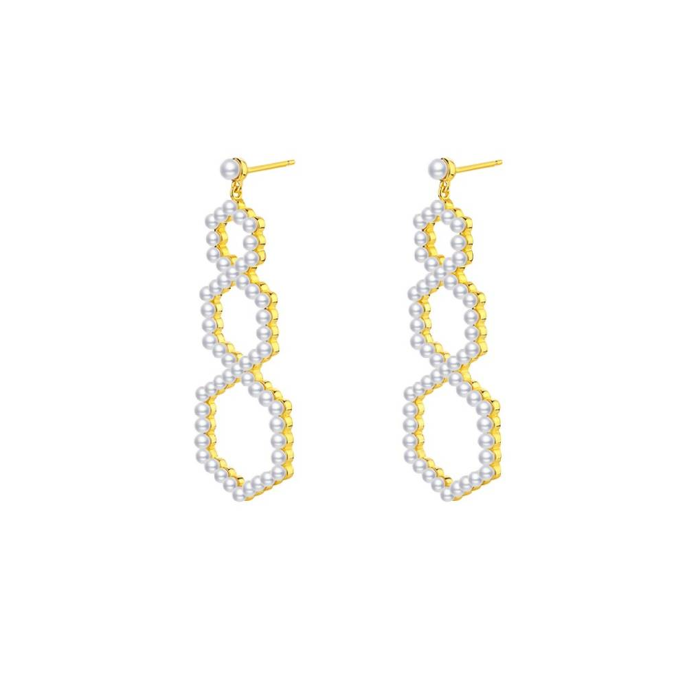 Geometrical Gold Plated 925 Sterling Silver Pearl Pave Drop Earrings