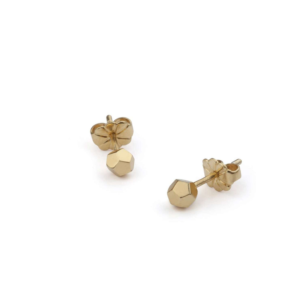 Dodecahedron Stud Earrings - Gold-plated Silver