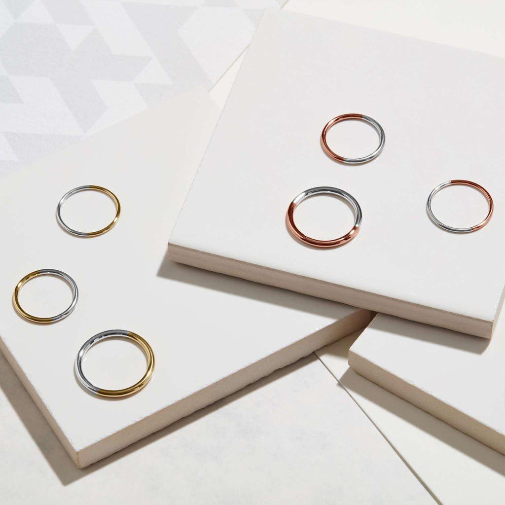 Two-tone Skinny Round Stacking Ring