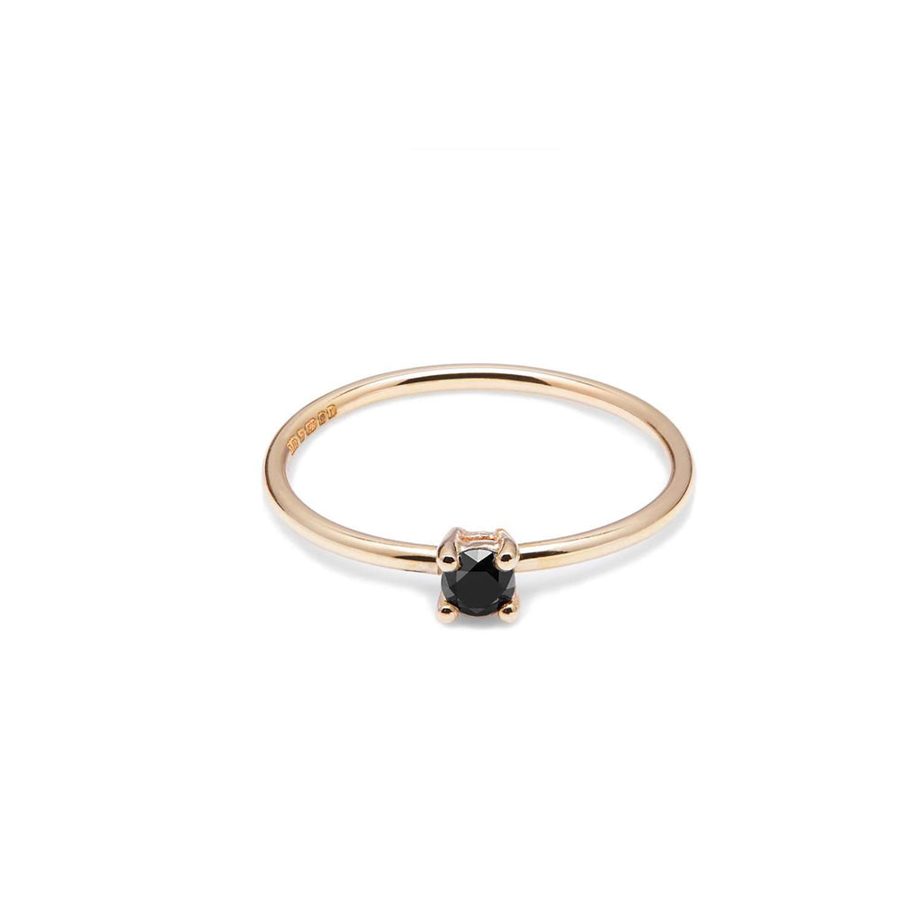 Black Diamond And 9ct Yellow Gold Solitaire Ring