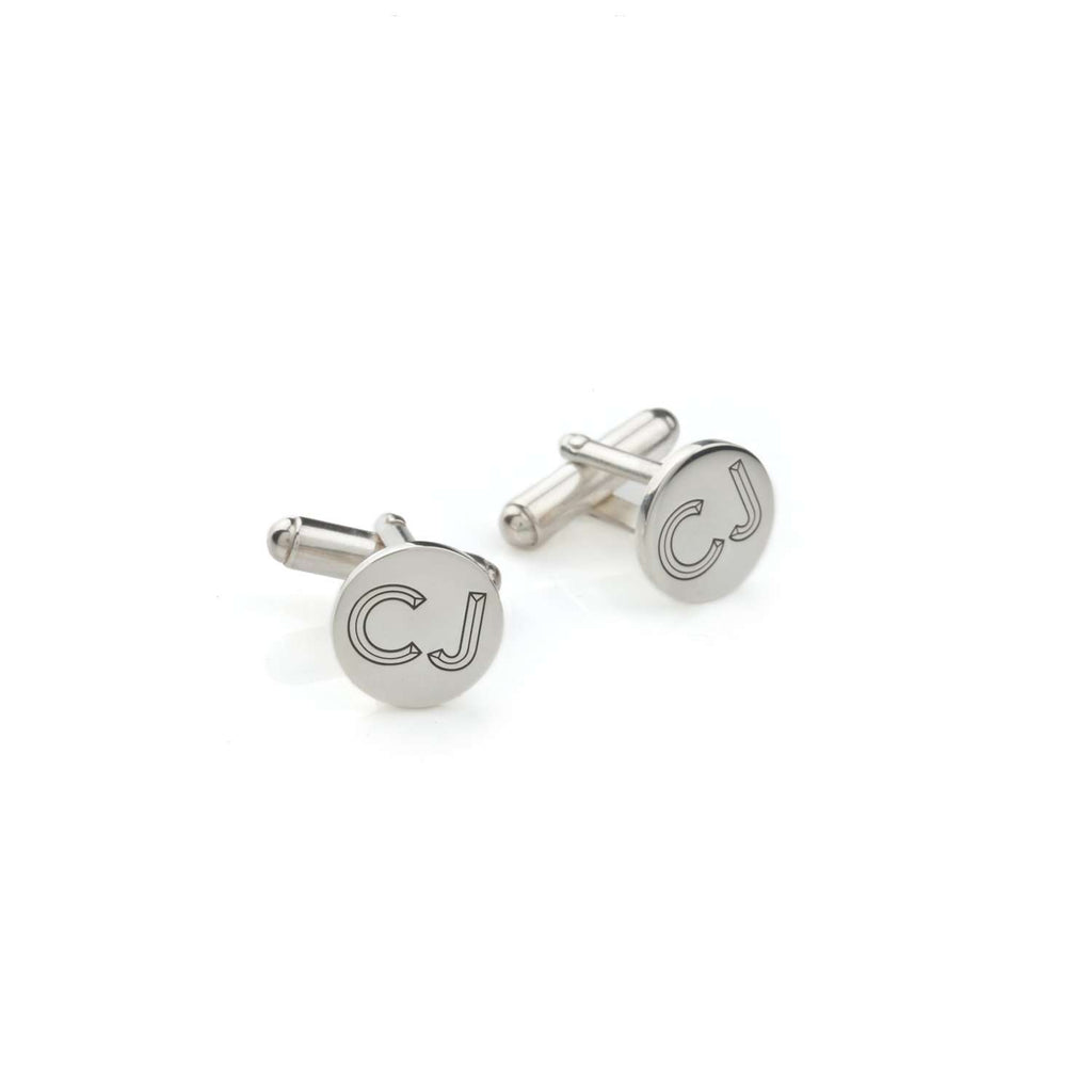 Personalised Silver Facett Double Initial Cufflinks
