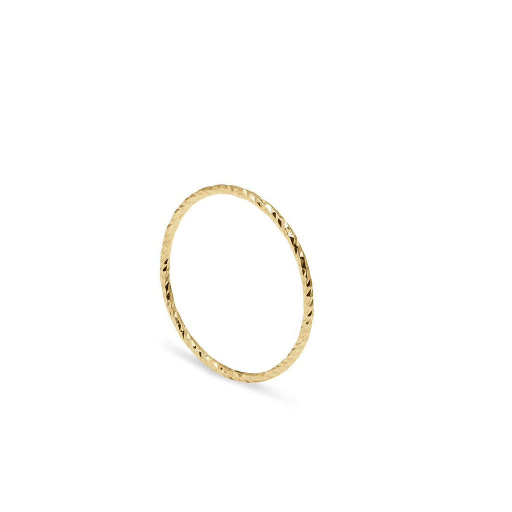 9ct Yellow Gold Ultra Skinny Diamond Stacking Ring