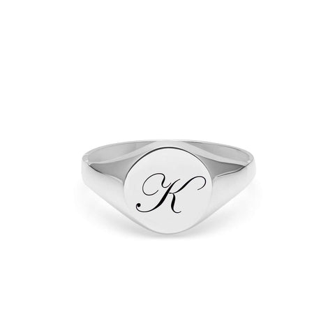 Silver Facett Initial X Round Signet Ring