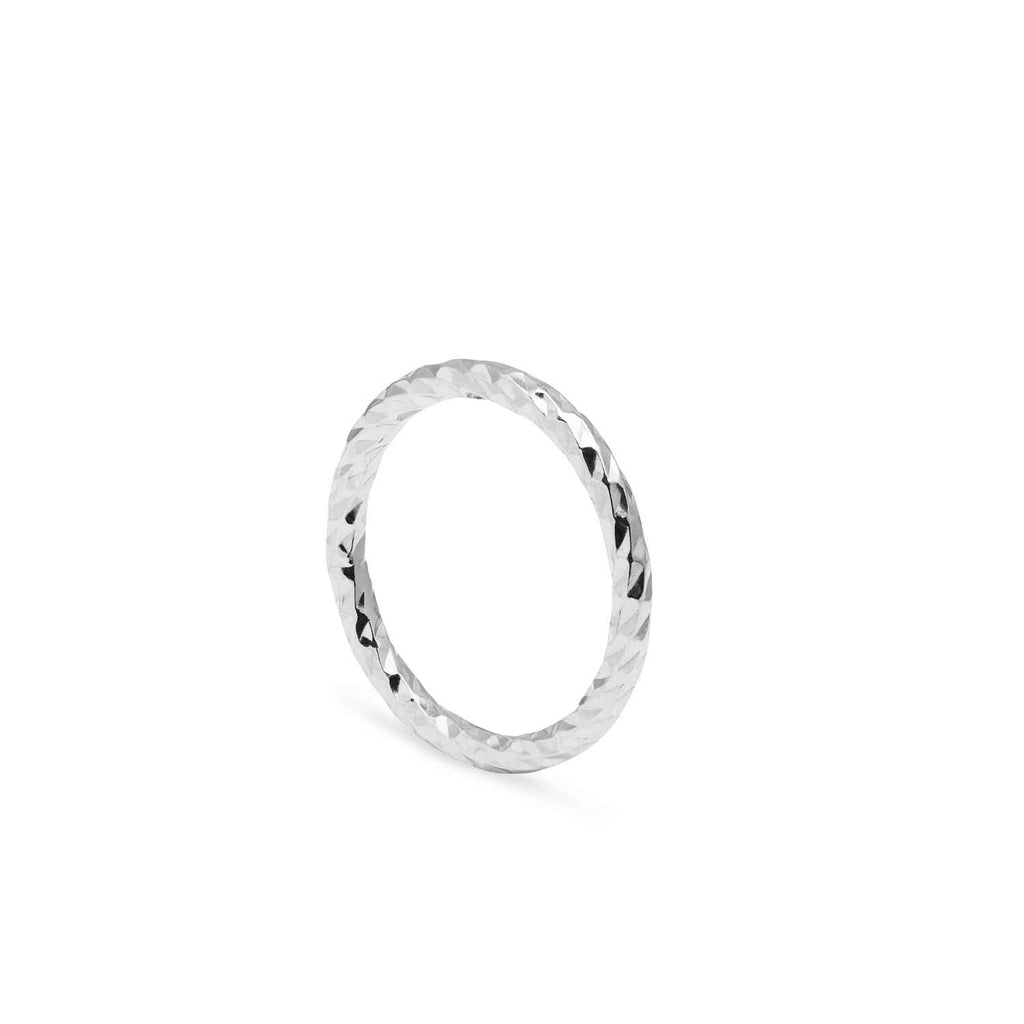 Silver Faceted Diamond Band