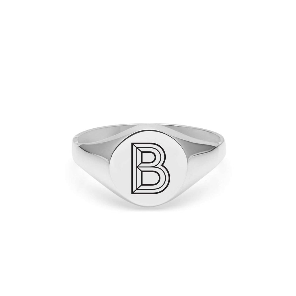 Silver Facett Initial B Round Signet Ring