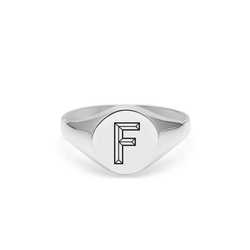Silver Facett Initial F Round Signet Ring
