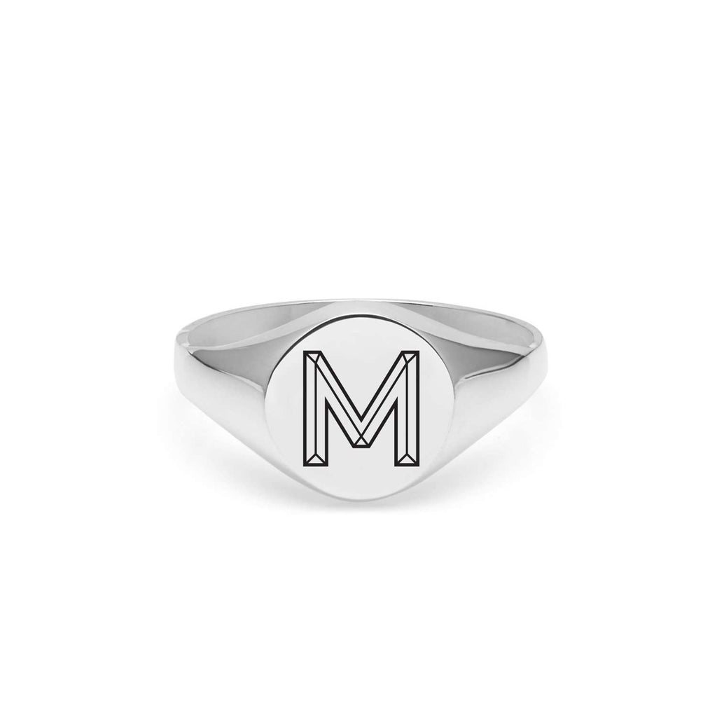 Silver Facett Initial M Round Signet Ring