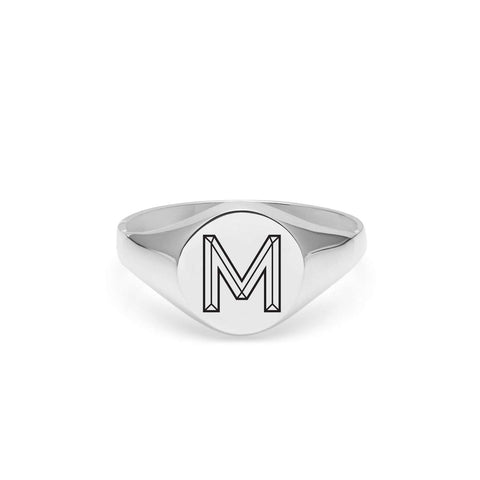 Silver Facett Initial J Round Signet Ring