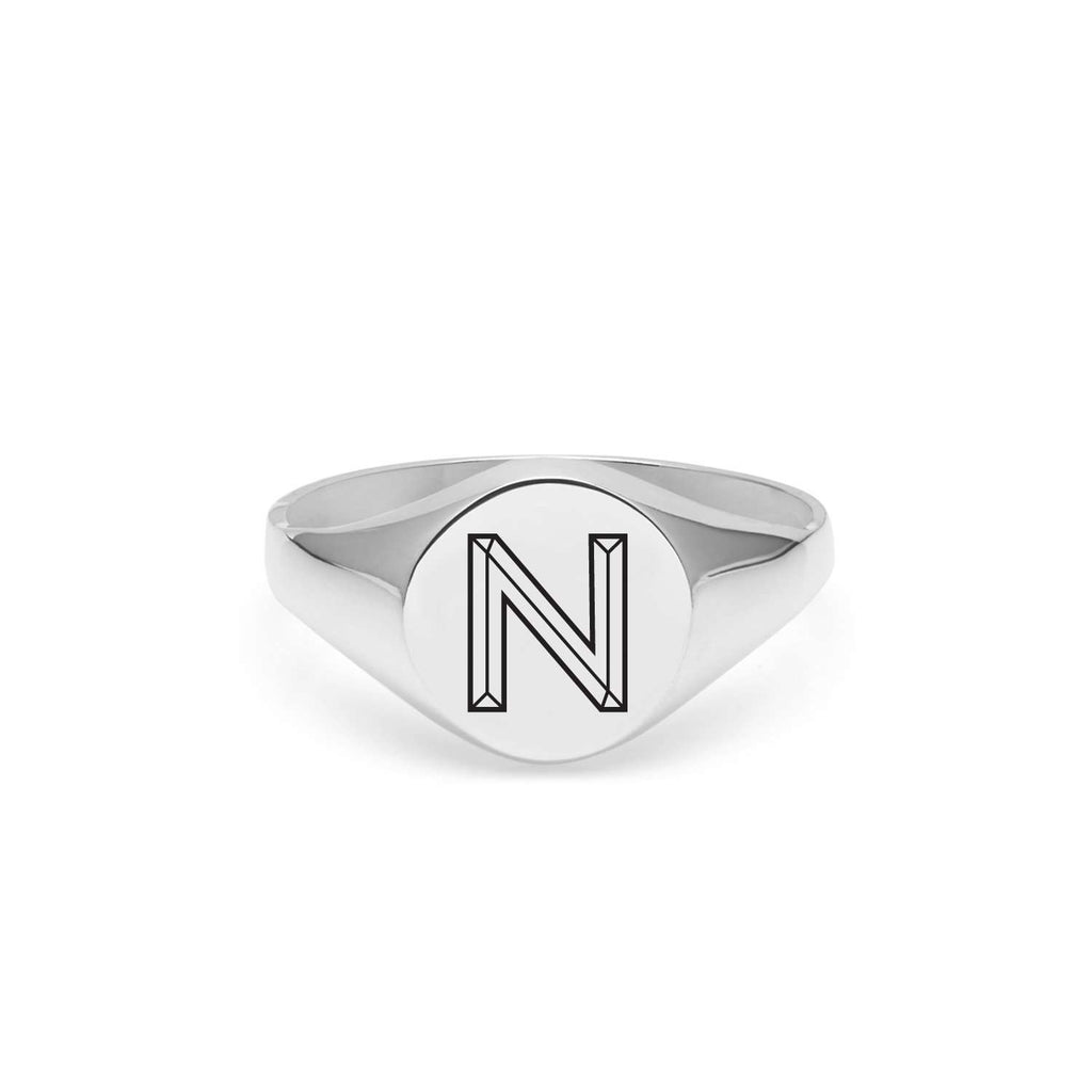 Silver Facett Initial N Round Signet Ring
