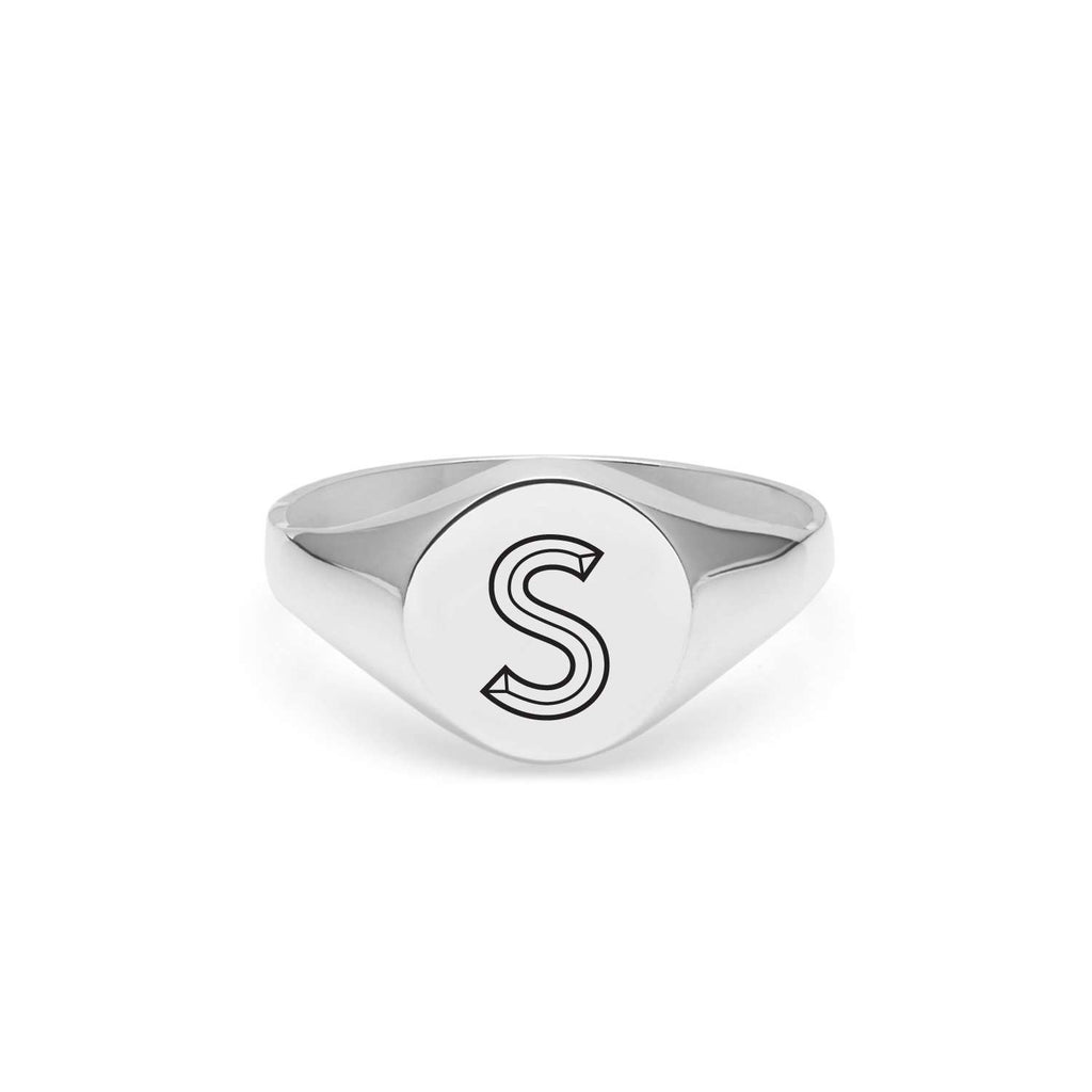 Silver Facett Initial S Round Signet Ring