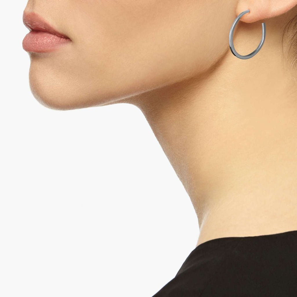 Silver Medium Hoop Earrings