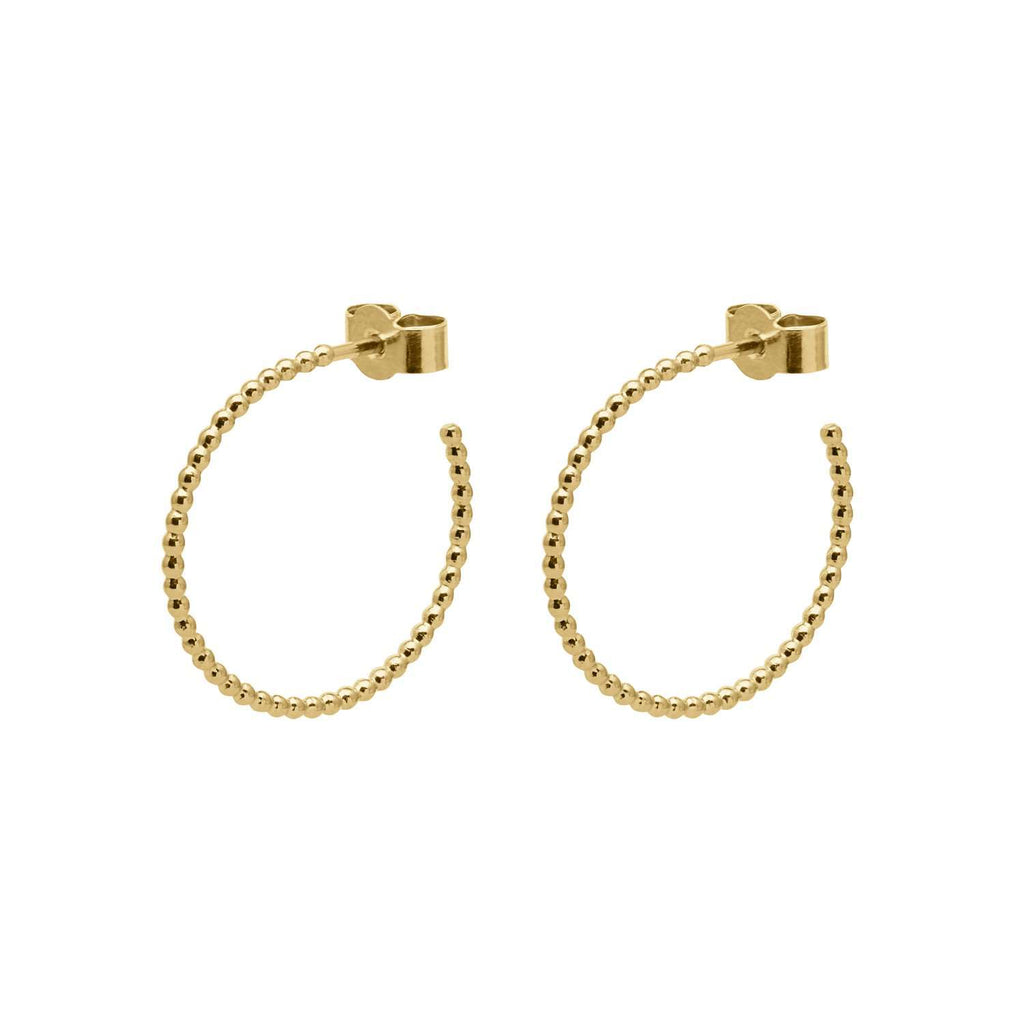 Gold Medium Ball Hoop Earrings