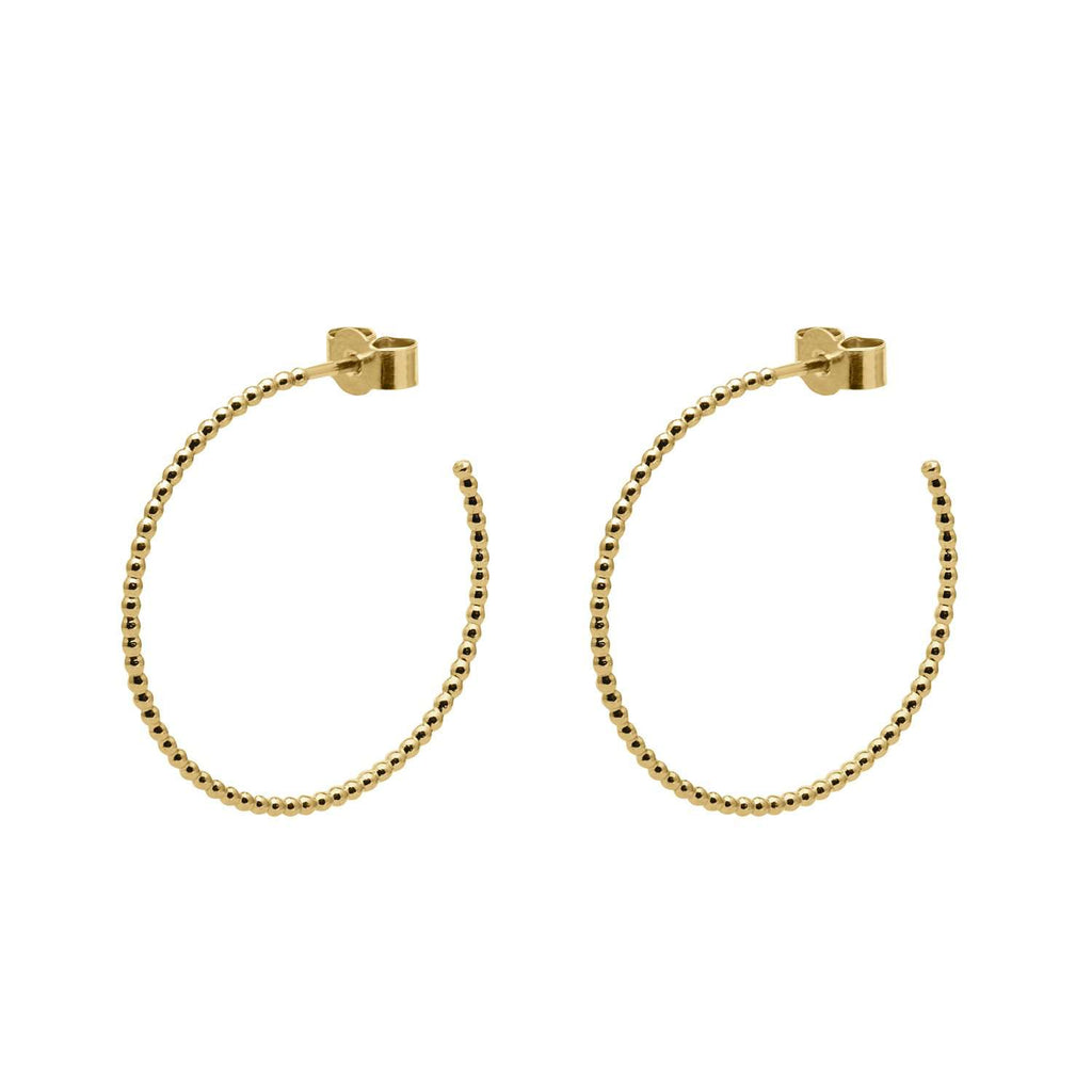 Gold Large Ball Hoop Earrings