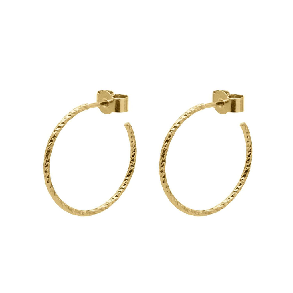 Gold Medium Diamond Hoop Earrings