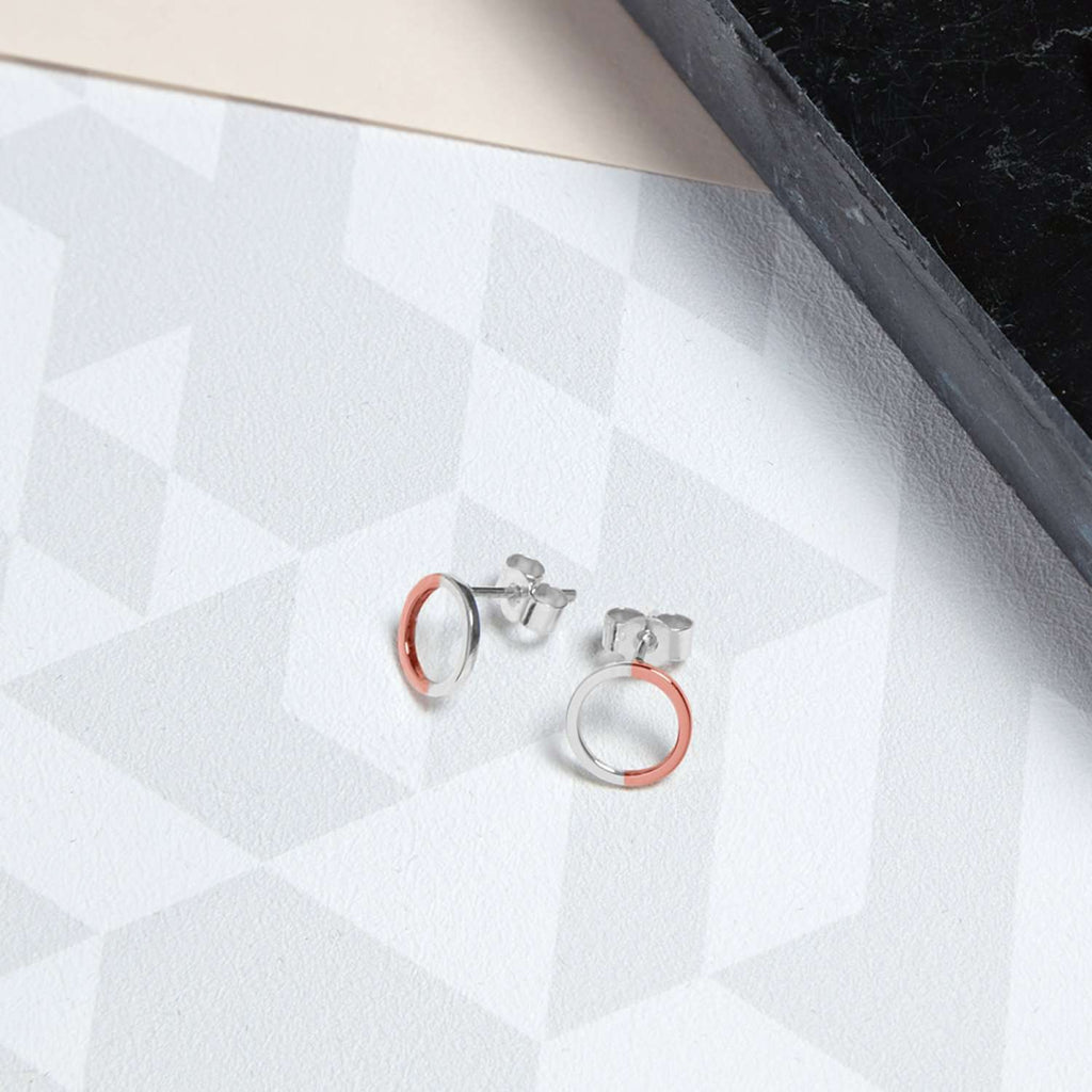 Two-tone Mini Circle Stud Earrings - 9k Rose Gold & Silver
