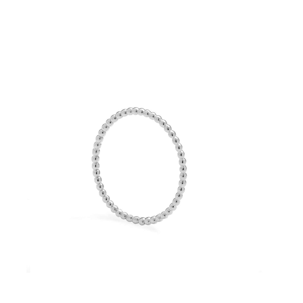 Silver Ultra Skinny Sphere Stacking Ring