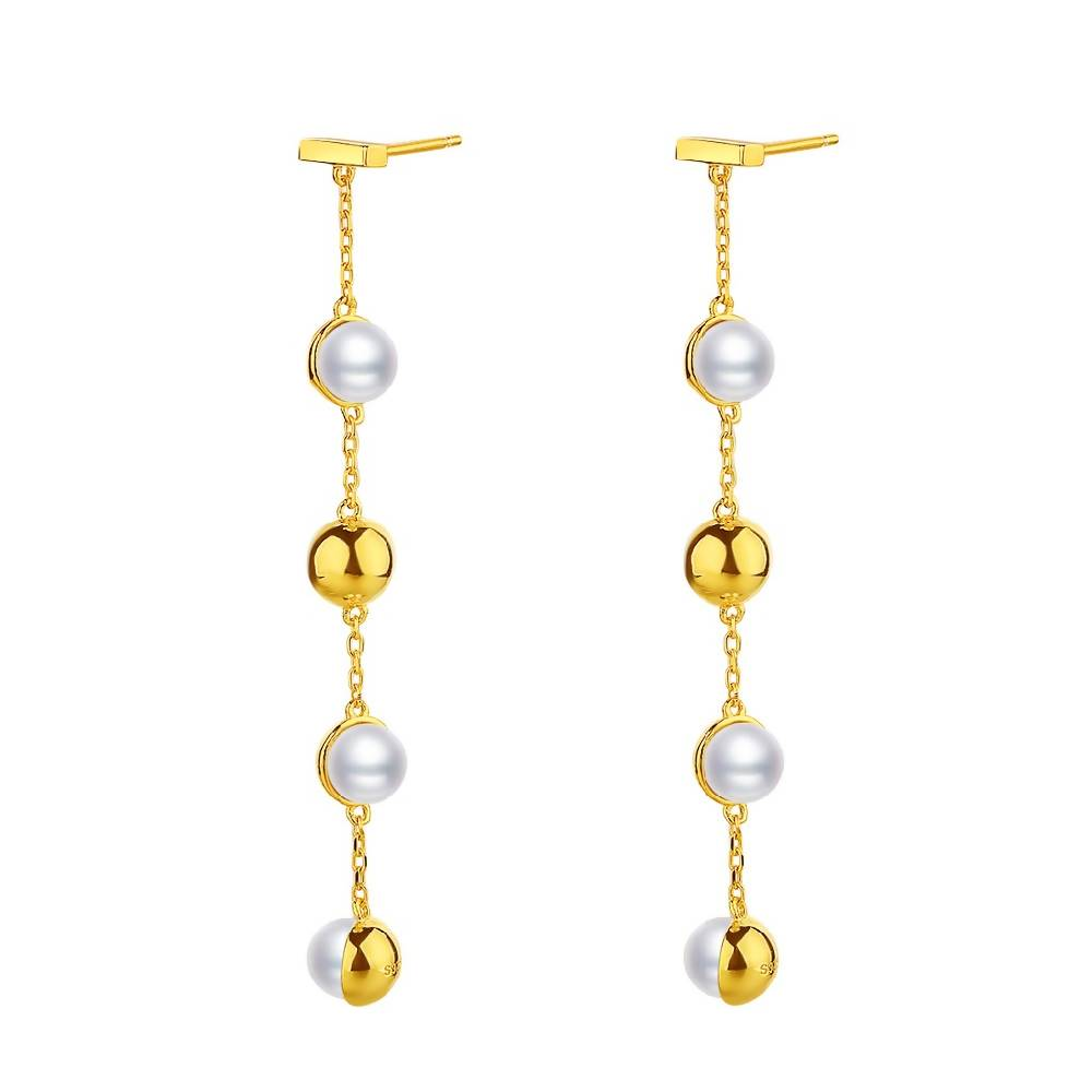 Playful Shell Pearl Gold Plated Sterling Silver Drop Earrings