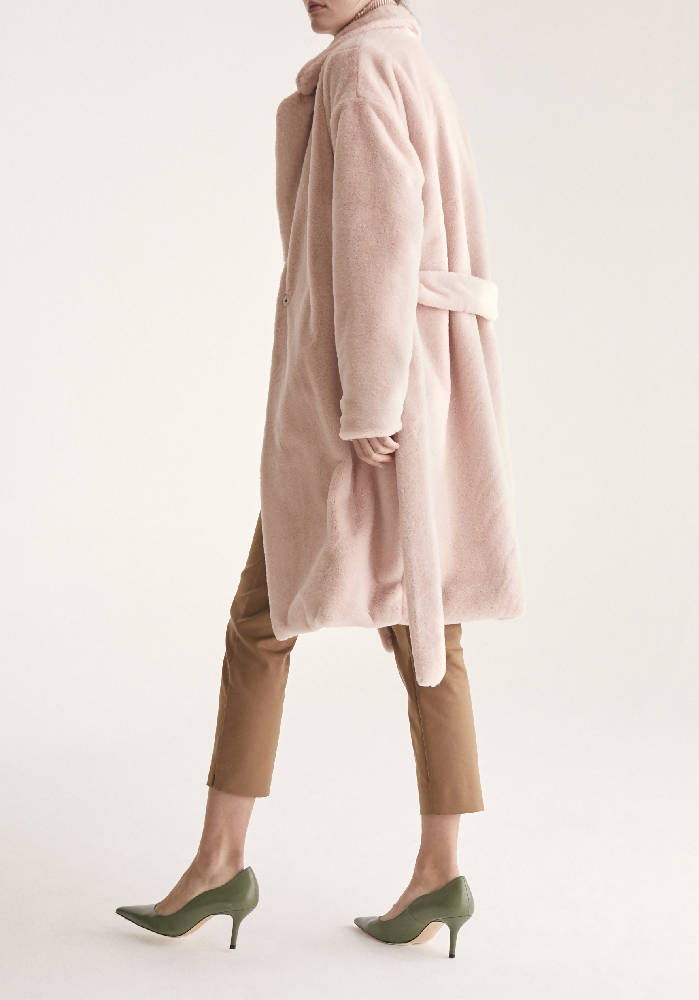 Oversized Soft Fur Teddy Bear Coat with Self Belt in Pink