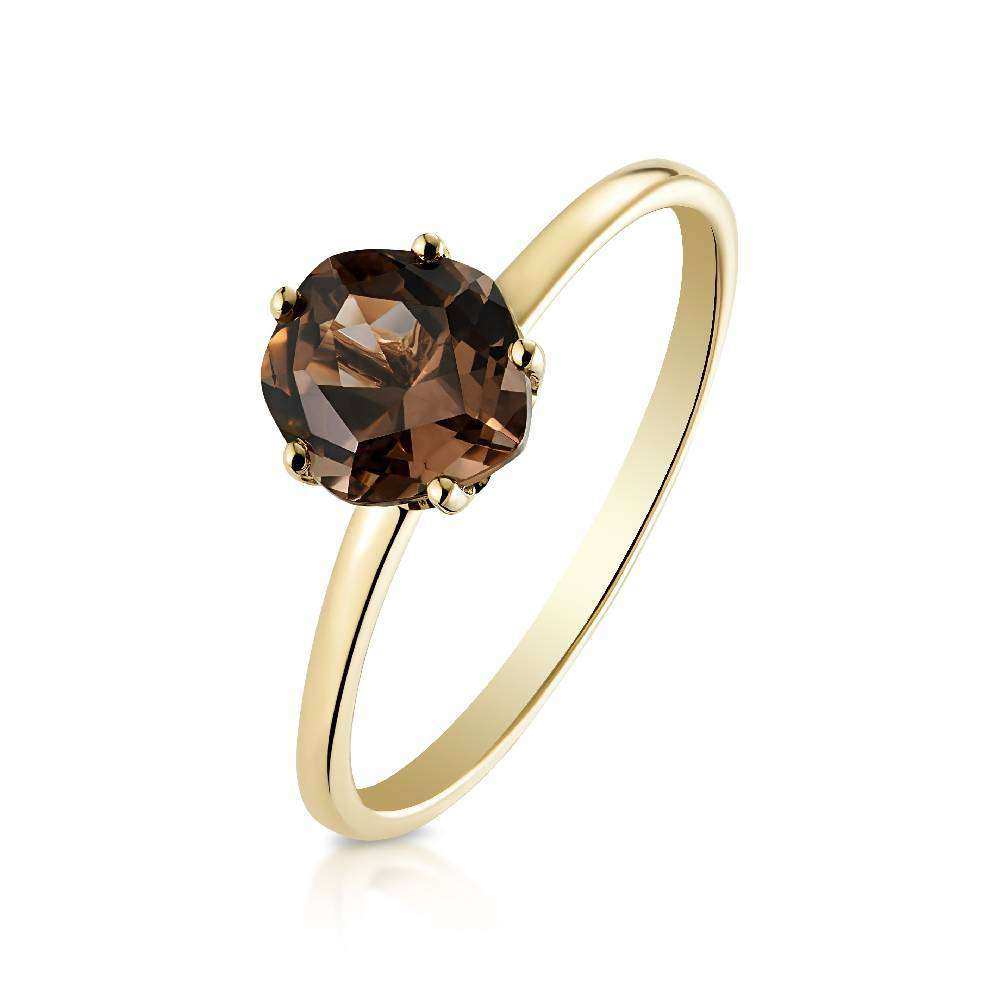 Yellow Gold and Smoky Quartz (6mm) Ring