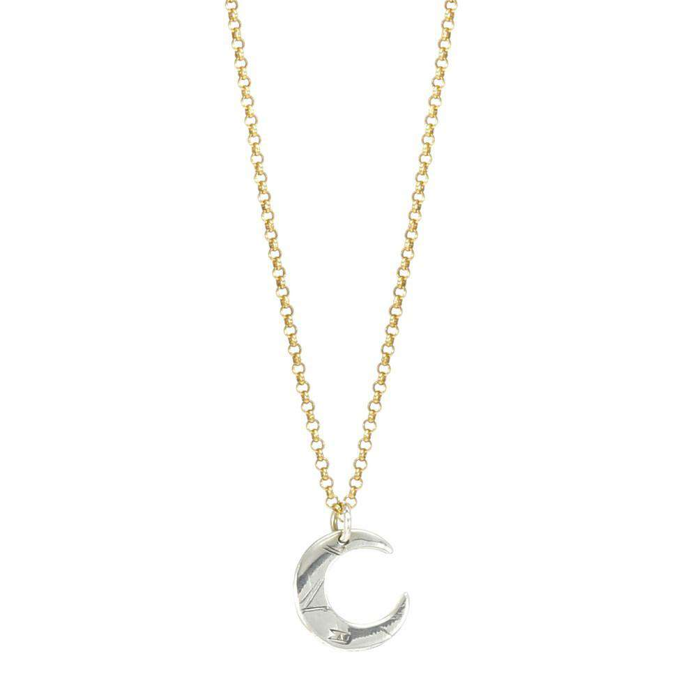 Silver and Gold Petite Lune Necklace