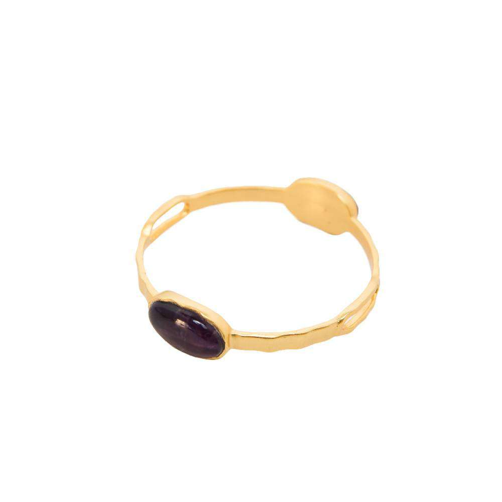 Deco Twin Stone Bangle in Amethyst